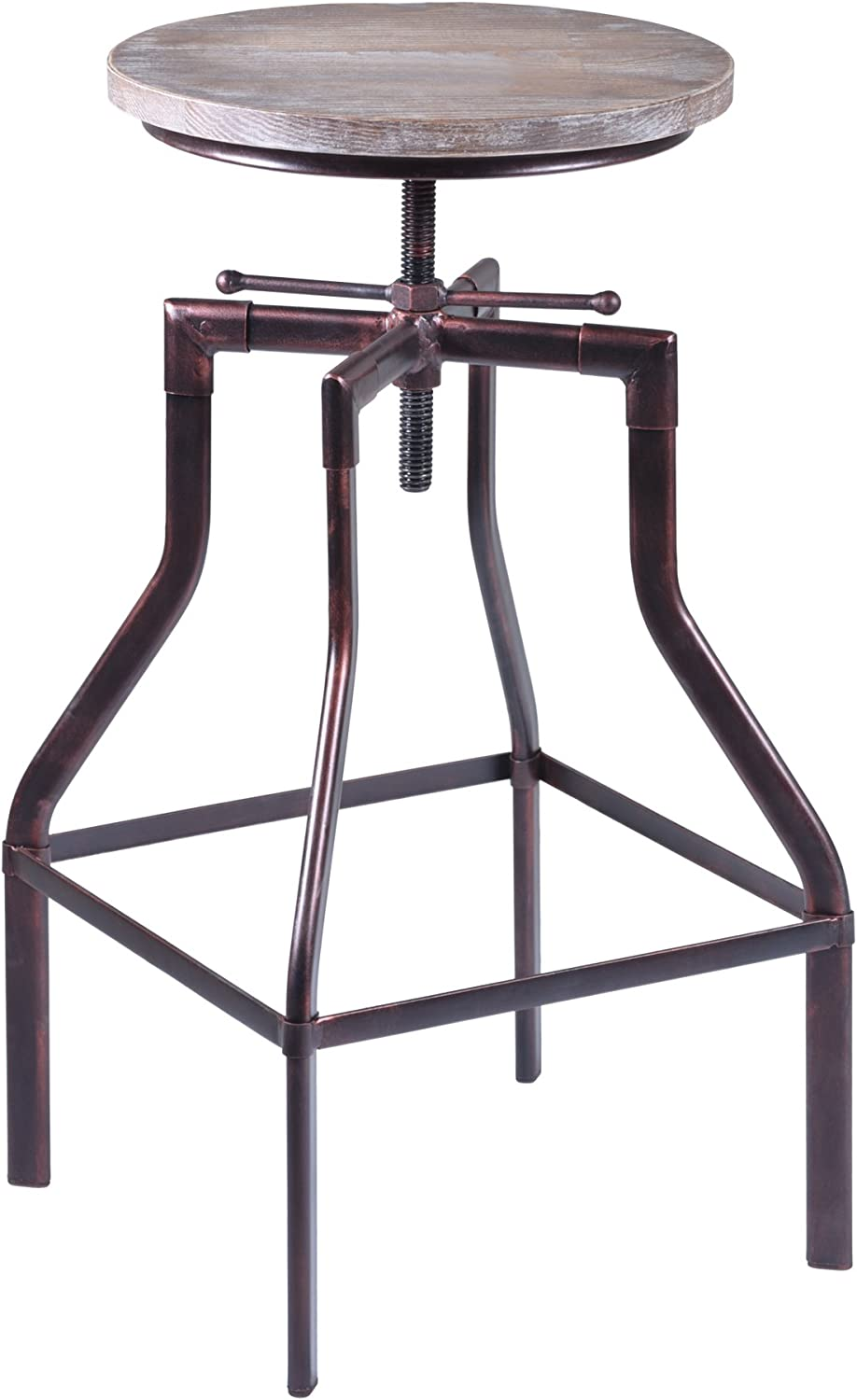 Armen Living Concord Adjustable Barstool in Pine Wood and Industrial Copper Finish