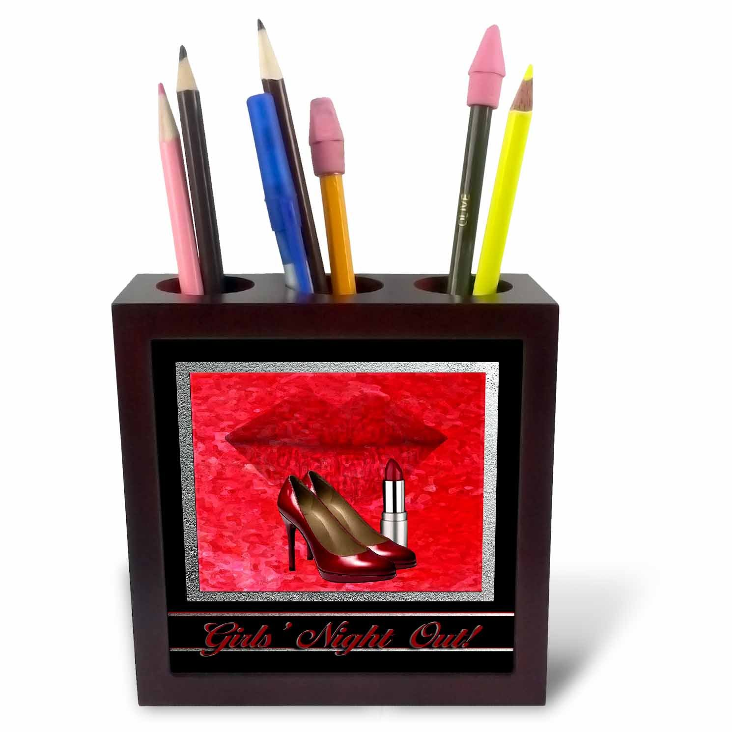 3dRose ph/_40542/_1 Bachelorette Party Girls Night Out Lips and Lipstick Tile Pen Holder 5-Inch Red High Heels