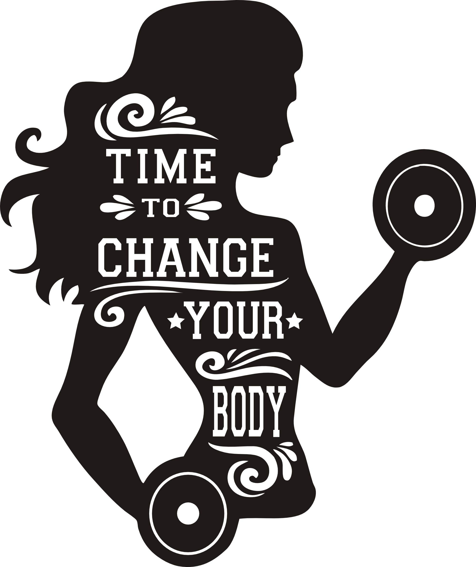 Girls Gym Bodybuilding Wall Decal Removable Wall Art Girls Women Inspiration Quote Its Time to Change Your Body Fitness Crossfit Wall Art Sticker Mural NY-183 (Black, 57X70CM)