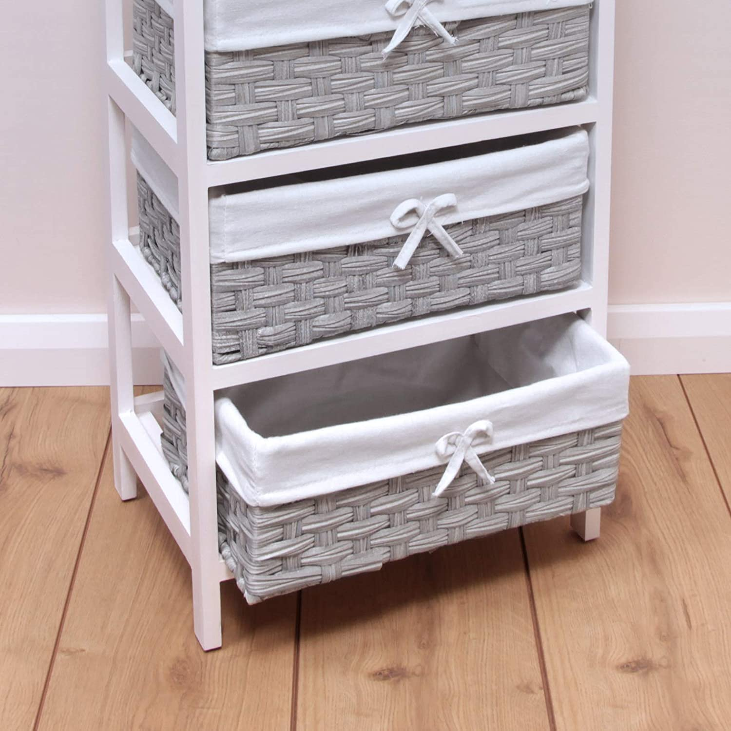 woodluv 4 Chest of Drawers Wooden Storage Unit With Non-Woven Basket Bedside Cabinets Fully Assembled Bedroom or Bathroom