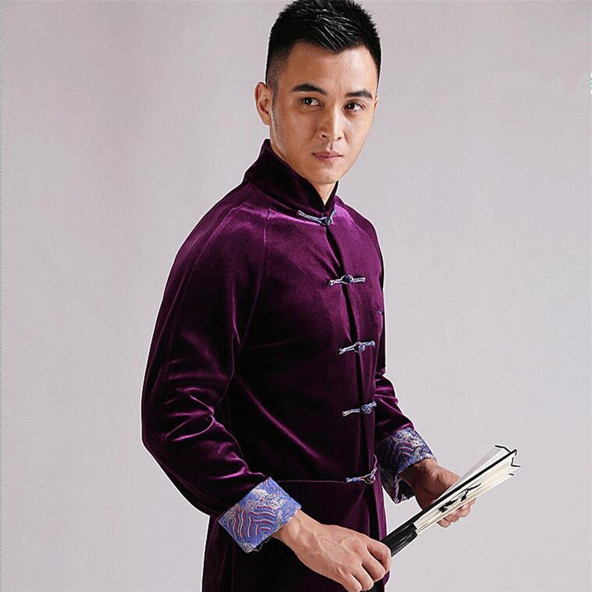 WEISAN Mens Chinese Traditional Tang Suit Velvet Chinese Kung Fu Costume Coat by WEISAN (Image #3)