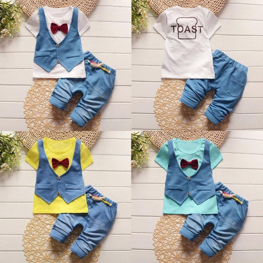 Fabal Kids Toddler Baby Boys Handsome T-shirt Tops Waistcoat Pants Clothes Outfits Set
