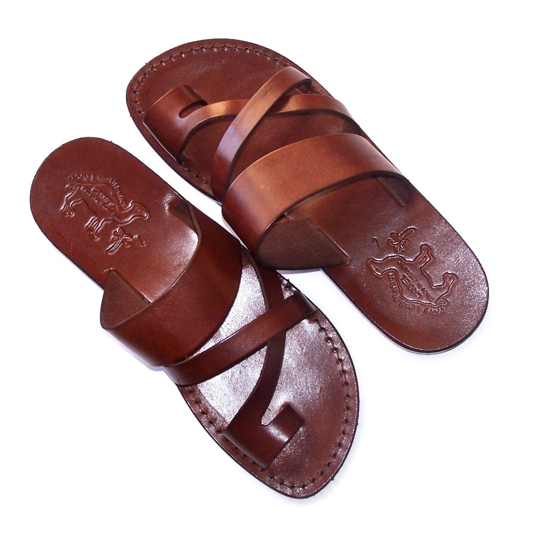 Holy Land Market Unisex adults/children Genuine Leather Biblical Sandals/Flip flops (Jesus - Yashua) Shepherd's Field Style II Camel Trademark - European 40