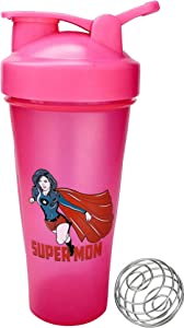 Supermom Shaker Bottle ∎ 24 oz Sport Mixer ∎ Fitness Protein Shaker ∎ Gym Bottle Blender ∎ Classic Loop Top Shaker ∎ Water Bottle ∎ Includes Steel Whisk Ball