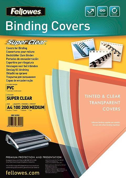 69 opinioni per Fellowes Copertine per Rilegatrice in PVC trasparente, 200 mic, 100 pezzi, A4