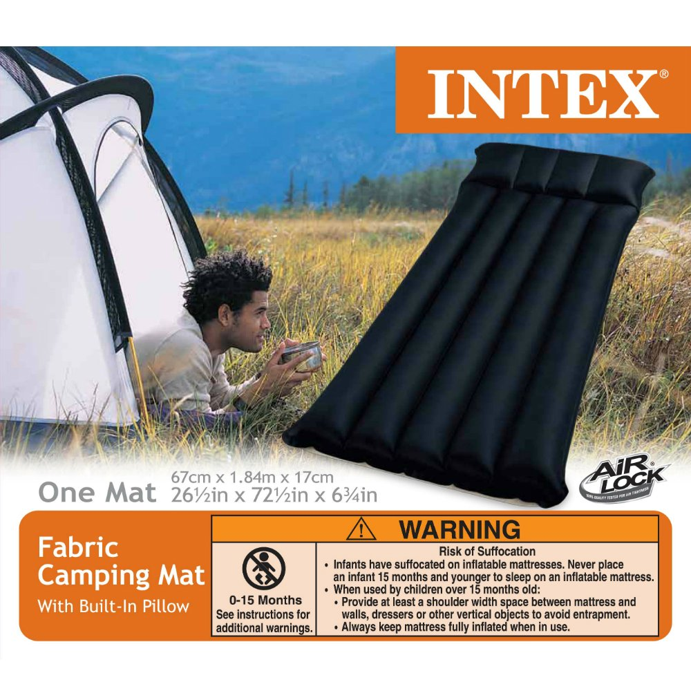 """Amazon.com : Intex Inflatable Fabric Camping Mattress with Built-In Pillow,  72.5"""" x 26.5"""" x 6.75"""" : Camping Air Mattresses : Sports & Outdoors"""