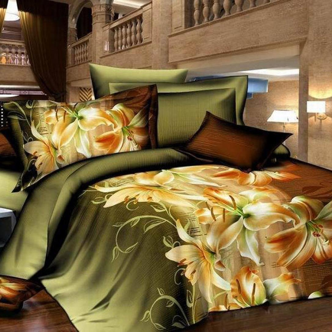 Ikevan 4 Pcs Bed Lovers Bed Linen Home Textile Holiday Lovers Bedding Set