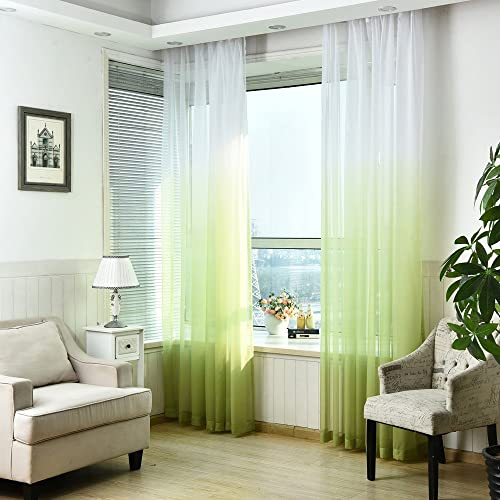 AUSWIND Gradient Grommet Top Sheer Window Curtains one Panel 54 x84 , Green