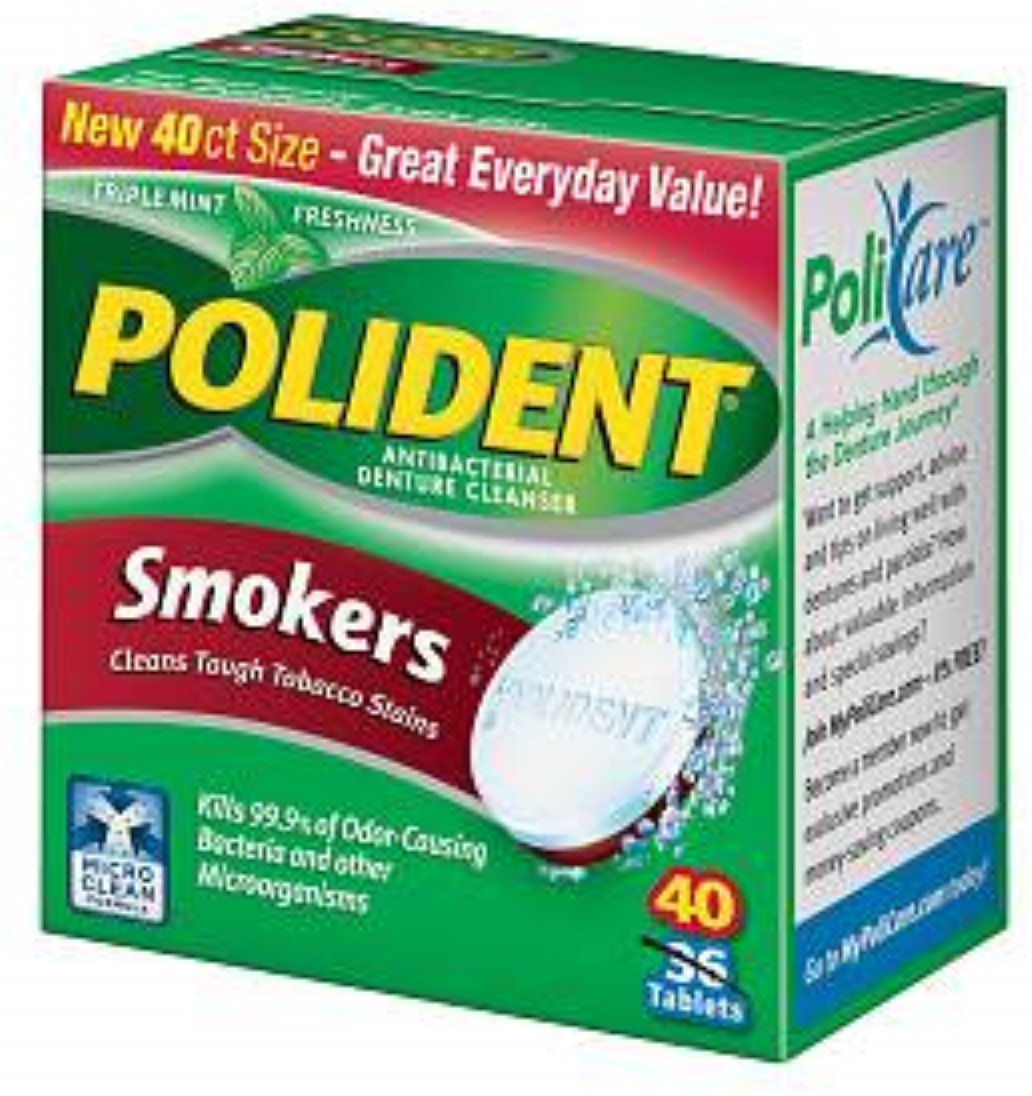 Polident Smokers, Antibacterial Denture Cleanser 40 ea (Pack of 11) by Polident