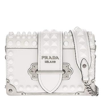 6e8c504e765c Amazon.com: Prada Small Cahier Shoulder Bag Studded White: TheLuxuryClub