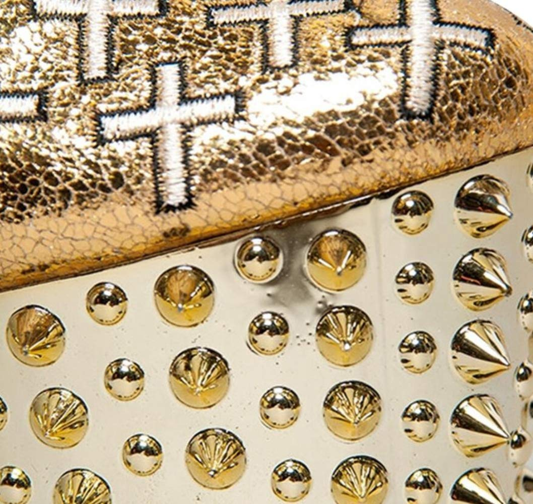Shiney Damen Stiefel Punk Stiefelies Gold Nieten Cross Strap High High High Heels Wasserdichte Tisch Stiletto Heels Urlaub Party 817a77