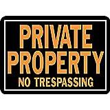"Hy-Ko 848 Private Property No Trespassing Sign, 10"" x 14"", Aluminum"