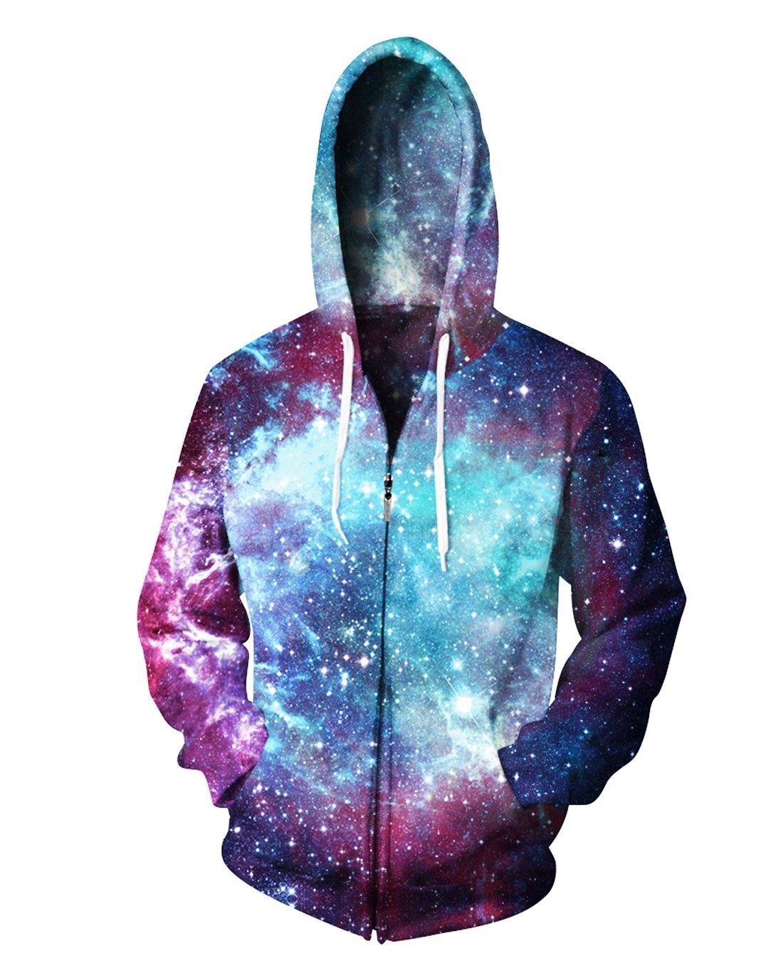 Sankill Unisex 3D Galaxy Zipper Hoodie Sweatshirt Fleece Pullover Hooded Shirts Pocket