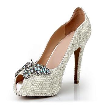 f8b0578067f3af Lady Fashion Fischmaul Perle Sandalen Braut Luxus Schmetterling Diamant  Schnalle High Heels Individuelle Benutzerdefinierte Weiße Hochzeit
