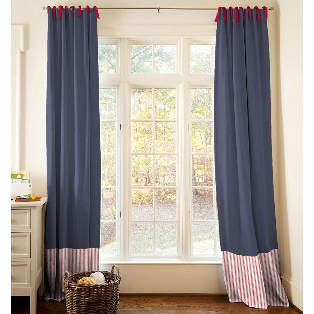 Carousel Designs Red and Navy Baseball Drape Panel 84-Inch Length Standard Lining 42-Inch Width