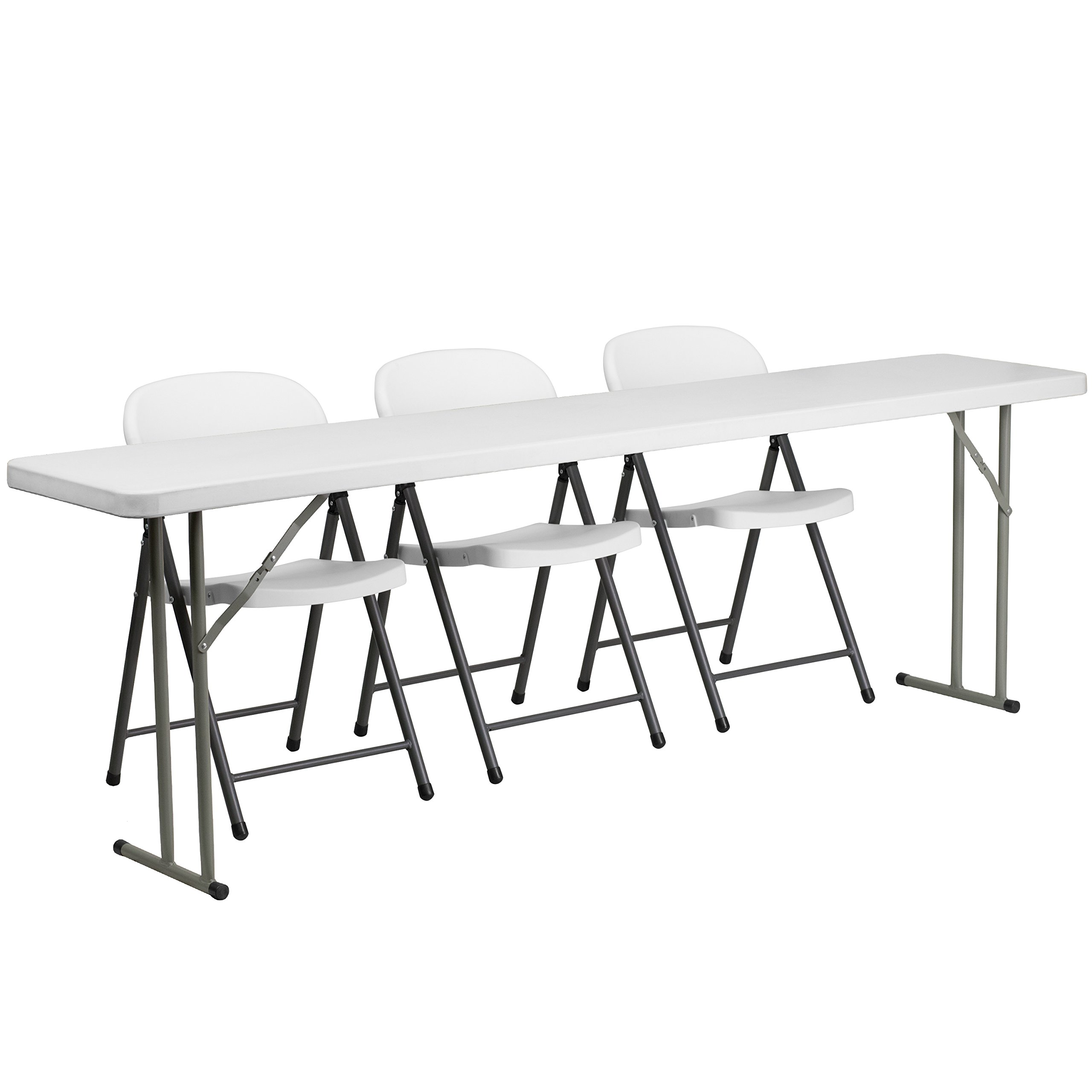 Flash Furniture 8-Foot Plastic Folding Training Table Set with 3 White Plastic Folding Chairs by Flash Furniture