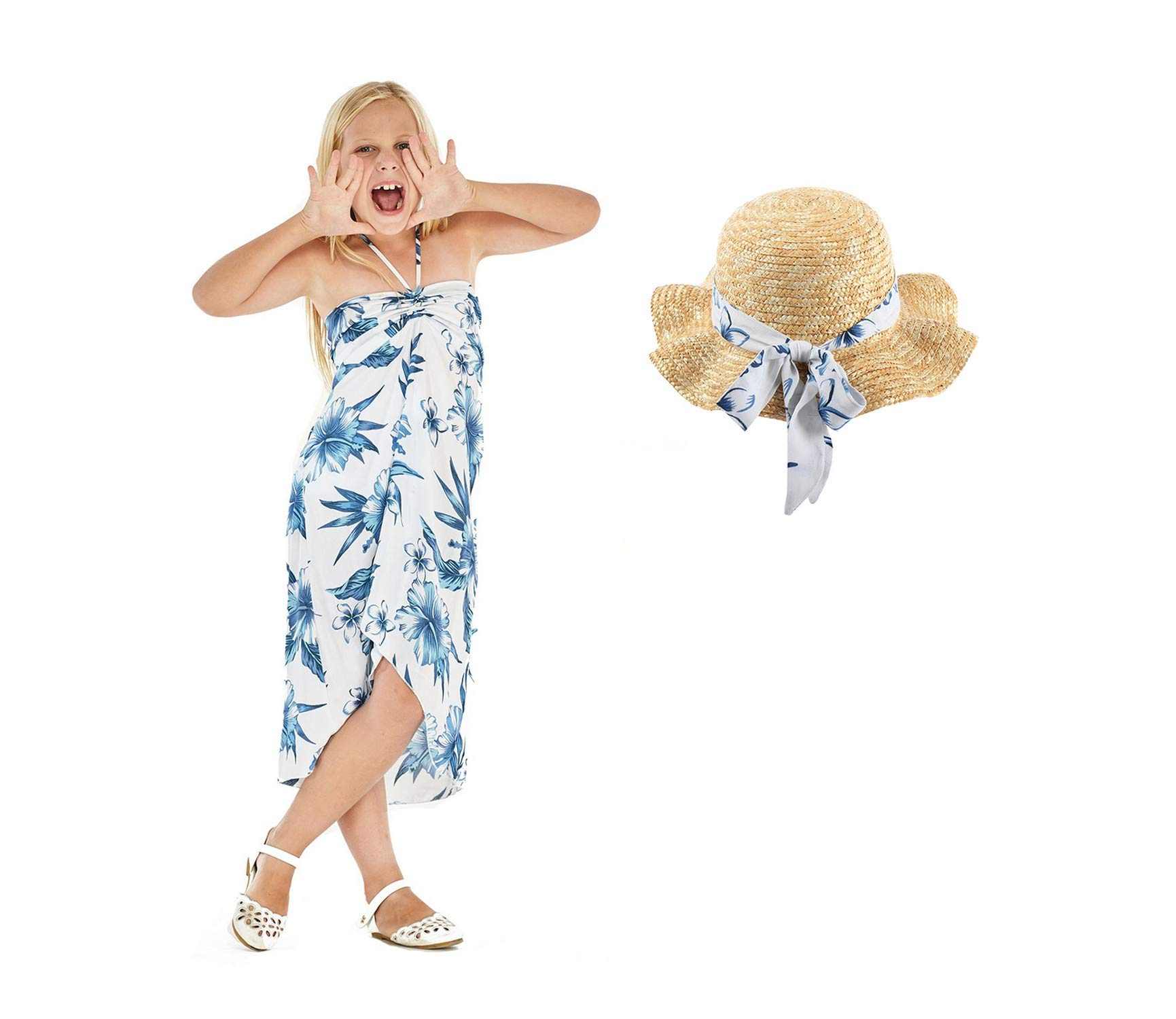 Girl Hawaiian Blutterfly Dress and Ruffle Straw Hat with Matching Band in Day Dream Bloom Size 12