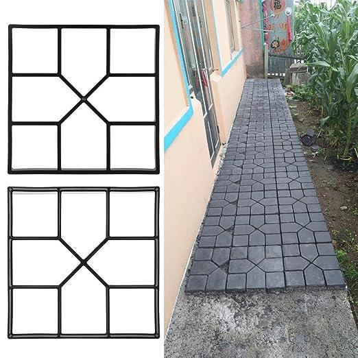 GOTOTOP Stampi Pavimento,DIY Stampo per lastre da pavimentazione,marciapiede Forma,Giardino Fai da Te Percorso Modello pavimentazione,DIY Path Maker Mold Walkmaker (40X40X4cm)