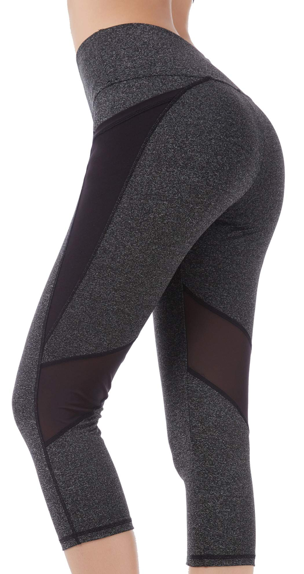Picotee Women's Yoga Pants Workout Capri Leggings Running Tights w Side Pocket (Small, Grey-Mesh)