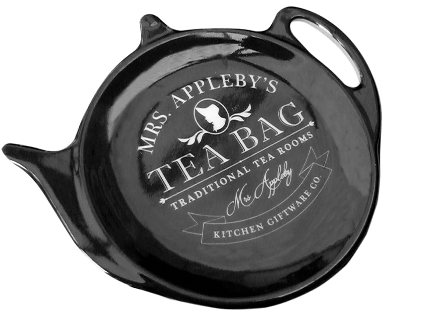 Black Mrs Appleby's Traditional Style Melamine Plastic Heart Teabag Holder Spoon Rest Strainer Mrs Applebys