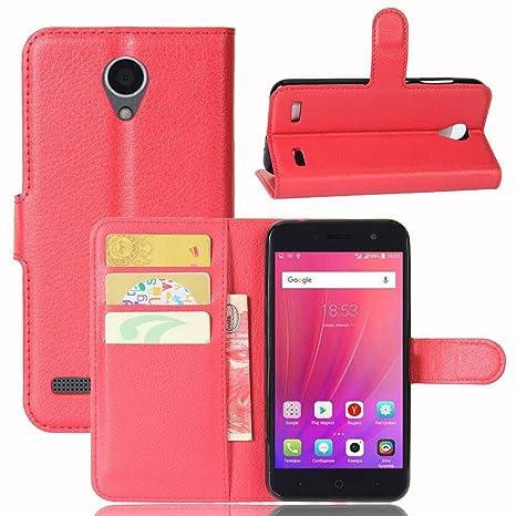 Guran® Funda de Cuero PU Para ZTE Blade A520 Smartphone Función de Soporte con Ranura para Tarjetas Flip Case Cover Caso-rojo
