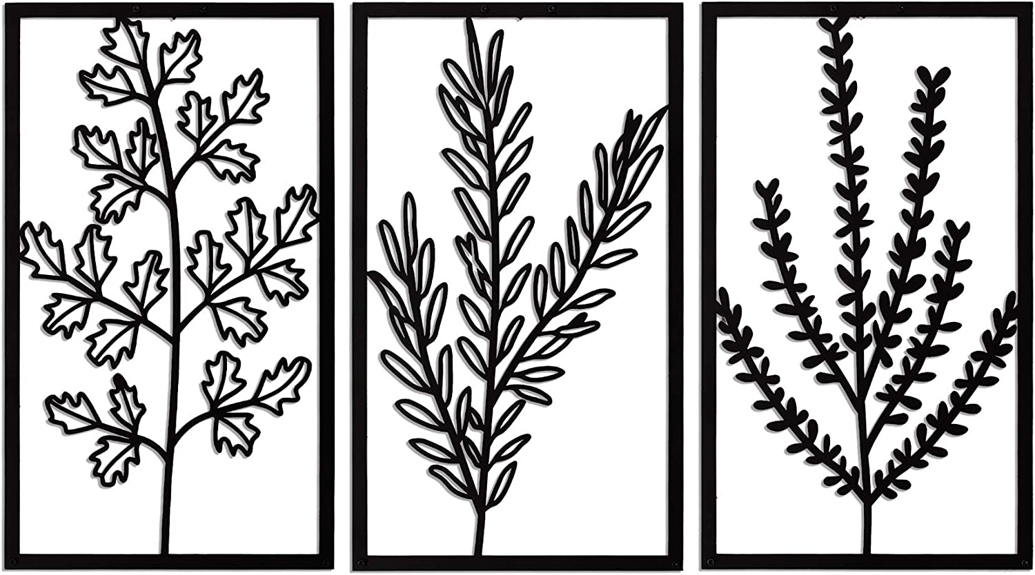 SOFT ART HOME Modern Wall Art Vetch Bouquet, Metal Wall Decoration 3 Pieces for Home. Vase Vetch Interior Decor for Office and Living Room, Botanical and Natural Themed House Warming Gift.