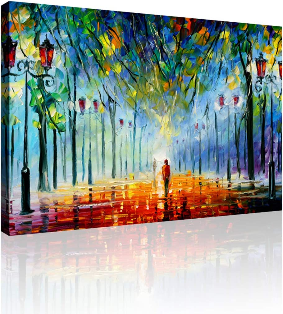 GOUJI Take a Stroll in The Park at Night Wall Art Inner-Framed Oil Paintings Printed on Canvas Modern Artwork for Office Home Decorations and Easy to Hang for Living Room, Bedroom