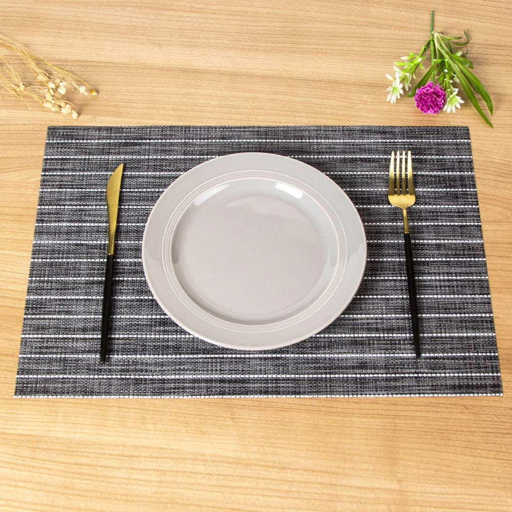 Pack of 2, BlackGrey Sinolodo Plastic Placemats Fall Table Decorations Dining Table Decor Placemats Heat Resistant Placemats for Dining Table