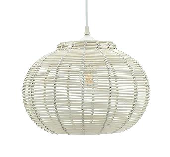 Lussiol 250643 - Lámpara de techo (mimbre, 60 W, 30 x 23 cm), color blanco