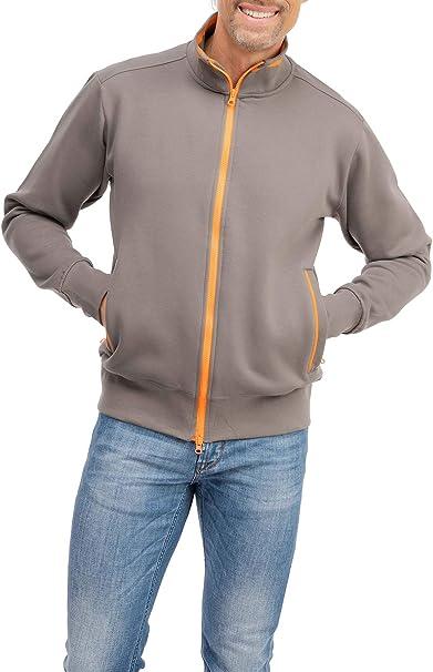 Happy Clothing Herren Sweatjacke sportlich ohne Kapuze gestreifte Trainingsjacke Sweatshirtjacke Zip Jacke Reißverschluss mit Kragen