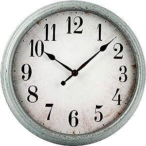 HYLANDA Retro/Vintage Wall Clock 12-Inch Non-Ticking, Round Silent Wall Clocks Battery Operated Decorative for Kitchen/Living Room Decor/Bathroom/Bedroom/Patio(Light Blue)