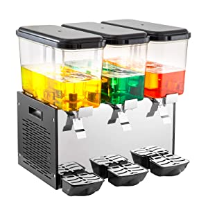 VEVOR 110V Commercial Cold Beverage Dispenser Machine 14.25 Gallon 3 Tanks Ice Tea Drink Dispenser 350W Stainless Steel Fruit Juice Equipped with Thermostat Controller