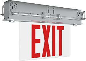 Ciata Lighting Recessed 6-inch Red Letter Edge-Lit Exit/Emergency Sign in Aluminium Housing,120-277V, 250 Lumens, UL listed, CEC Qualified, Manual Test Function and Battery Backup