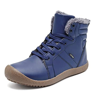 Mens Leather Snow Boots Lace Up Ankle Outdoor Warm Lightweight High Top Winter Shoes With Fur Lining