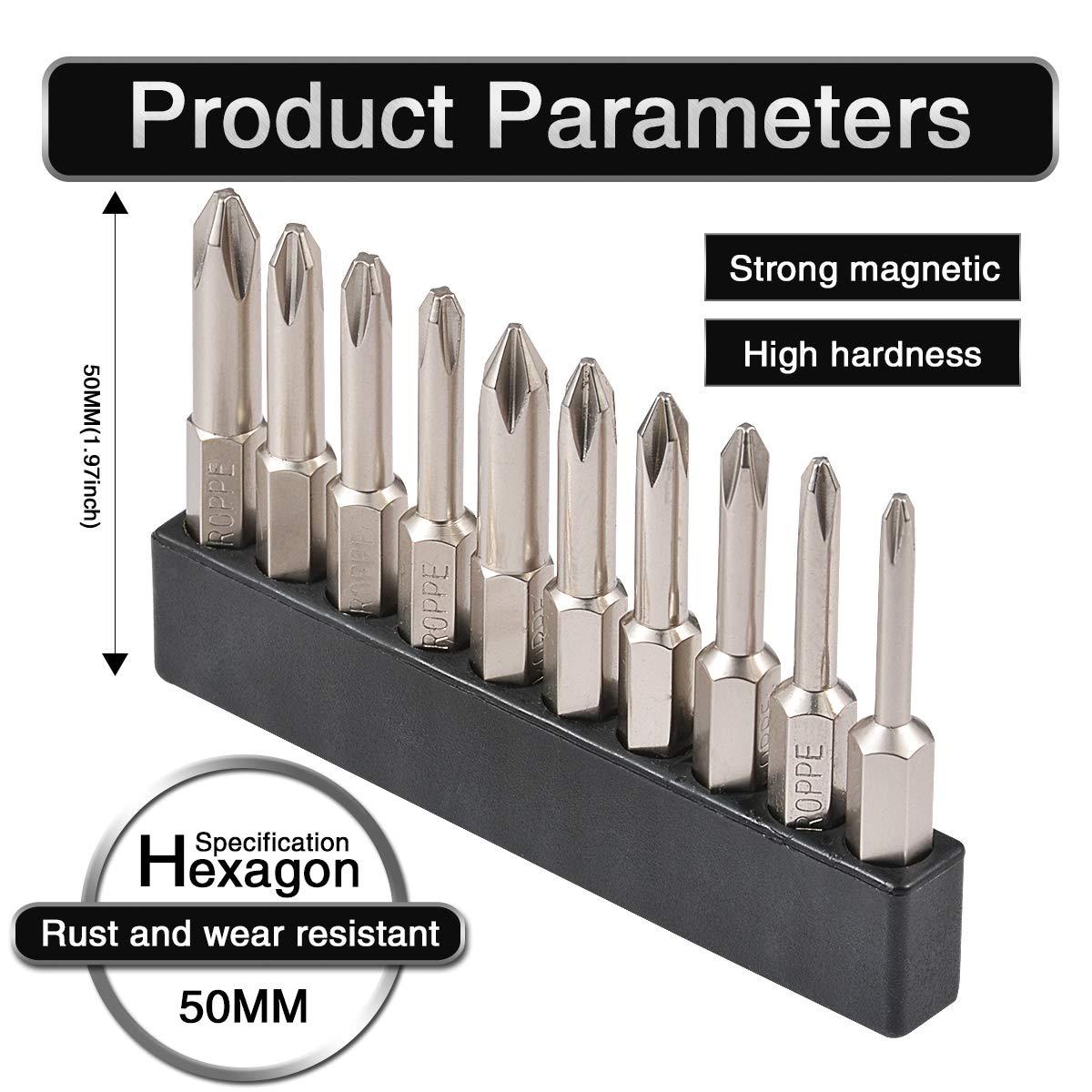 HOHXEN 13PCS 1//10,2/cm hex shank magnetico Phillips cacciavite a croce