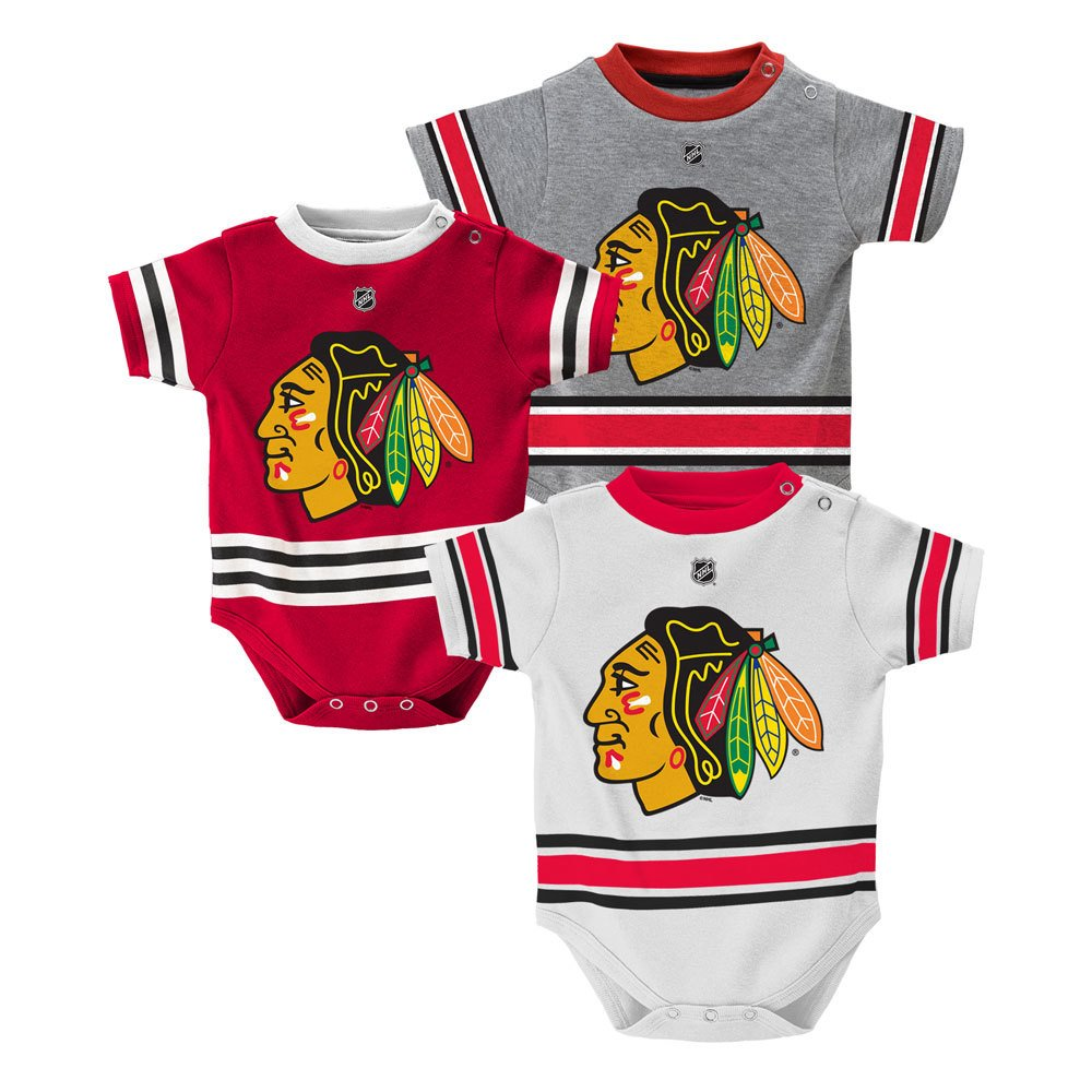 d3f44d6bb Amazon.com : Outerstuff Chicago Blackhawks Baby/Infant Hockey Jersey Style  3 Piece Creeper Set 0-3 Months : Sports & Outdoors