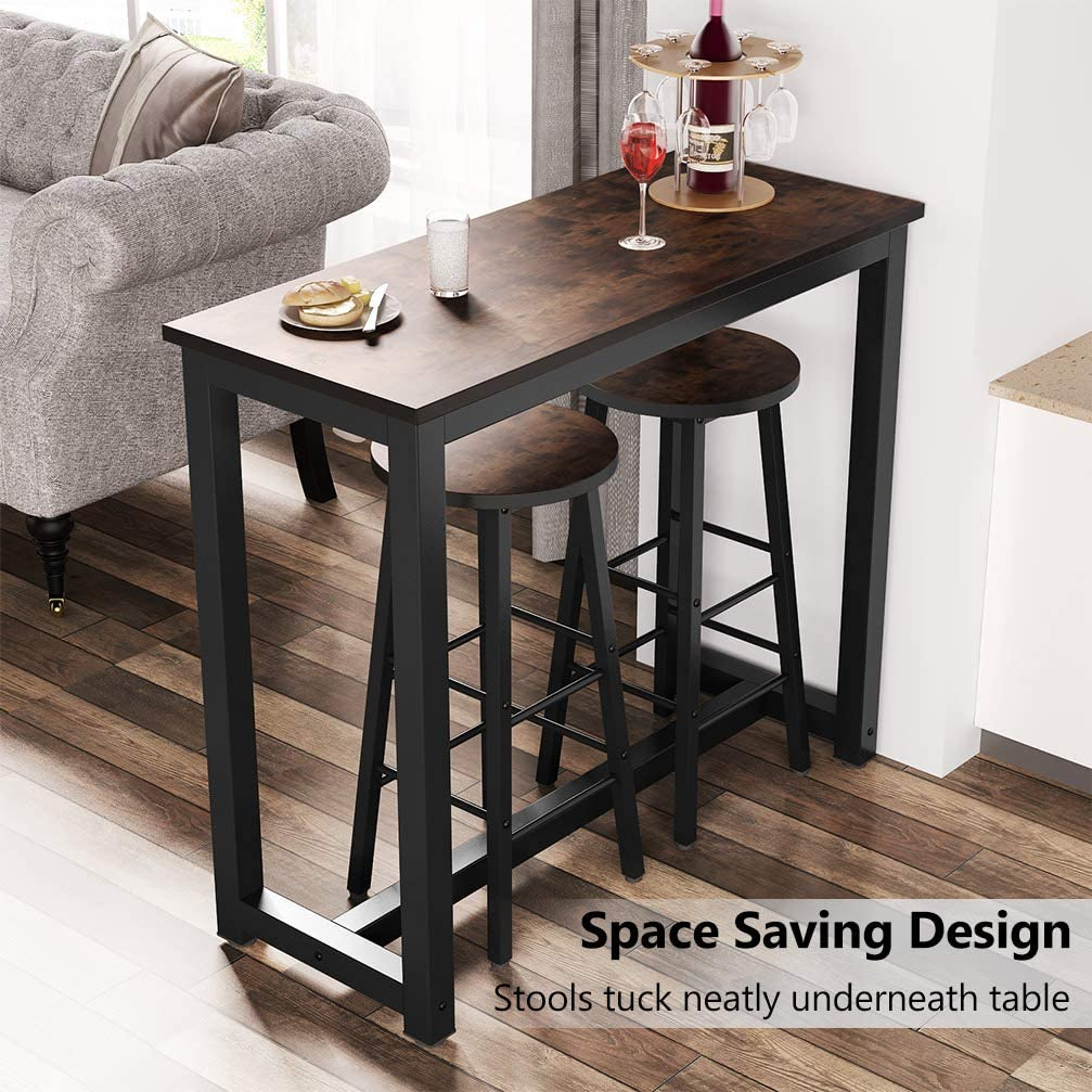 Living Room Tribesigns 3-Piece Pub Table Set Small Space Breakfast Nook Counter Height Breakfast Bar Table with Stools Kitchen Bar Table for Dining Room Rustic Brown