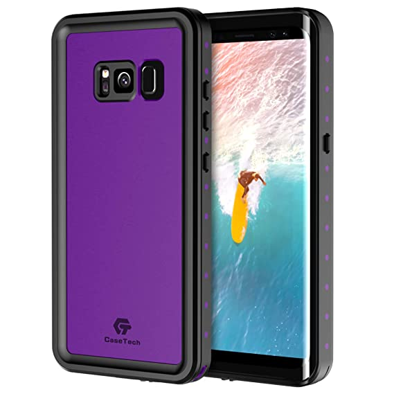 new product 4cae4 218e8 Samsung Galaxy S8 Waterproof Case, CaseTech NRE Series Underwater IP68  Certified Tough Shockproof Full-Body Protective Cover (Purple)