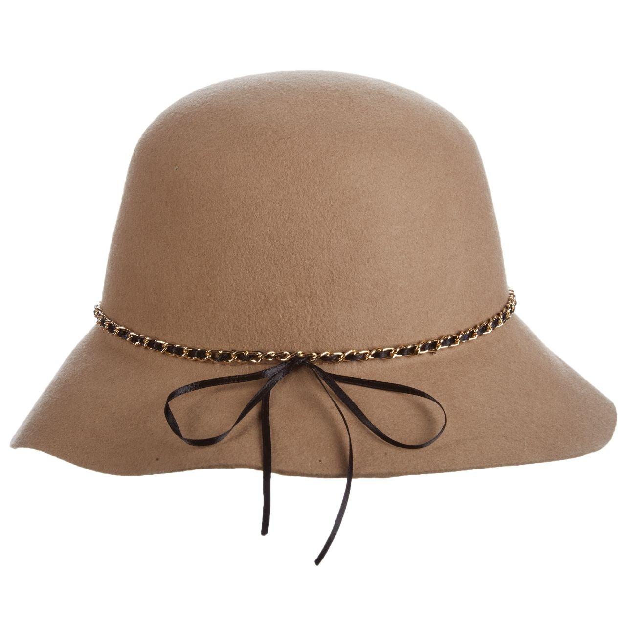SCALA Wool Felt Cloche with Chain HAT (Camel)
