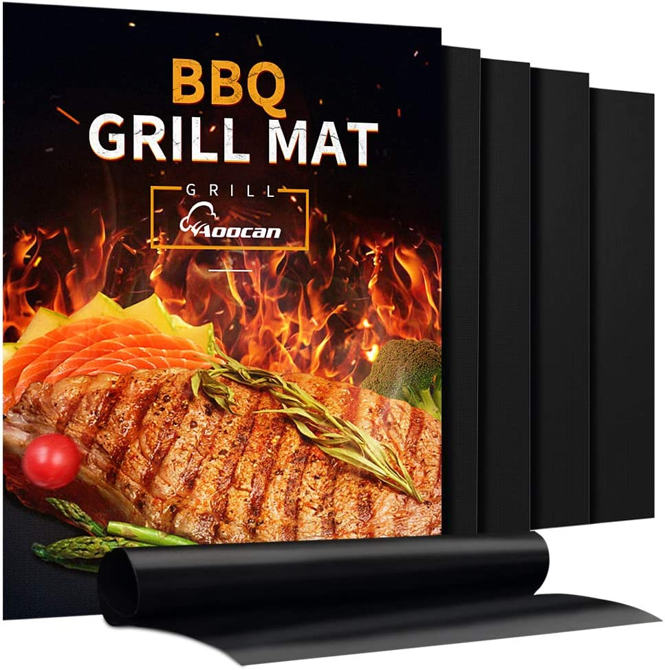 Aoocan Grill Mat - Set of 5 Heavy Duty BBQ Grill Mats Non Stick, BBQ Grill & Baking Mats - Reusable, Easy to Clean Barbecue Grilling Accessories - Work on Gas Charcoal Electric - Extended Warranty : Garden & Outdoor