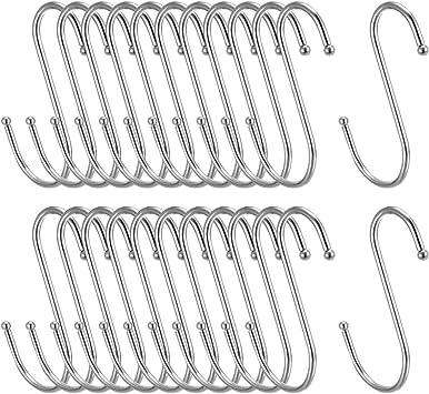 "Metal S Hooks 2.6/"" S Shaped Hook Hangers for Kitchen Multiple Uses 30pcs"