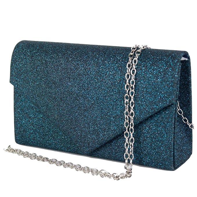90d814fb50 Pochette donna elegante da cerimonia Borsa piccola gioiello Clutch glitter  argento oro Borsetta a mano nera e dorata da sera Blu in Tessuto glitterato  Blu: ...
