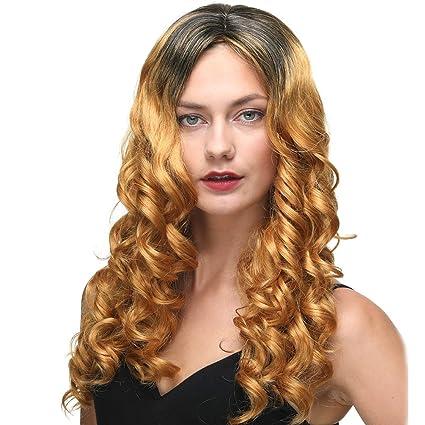 Pelucas rizadas largas premium para mujeres de dos tonos de color negro y dorado Peluca sustitutiva