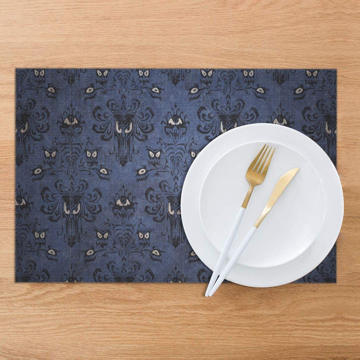 Snack Drink Non-Slip Anti-scalding Placemat, LLIJKOR Haunted Mansion Washable Fabric Placemats 12 X 18 Set of 6,Personality Design 3D Printed Table Mat