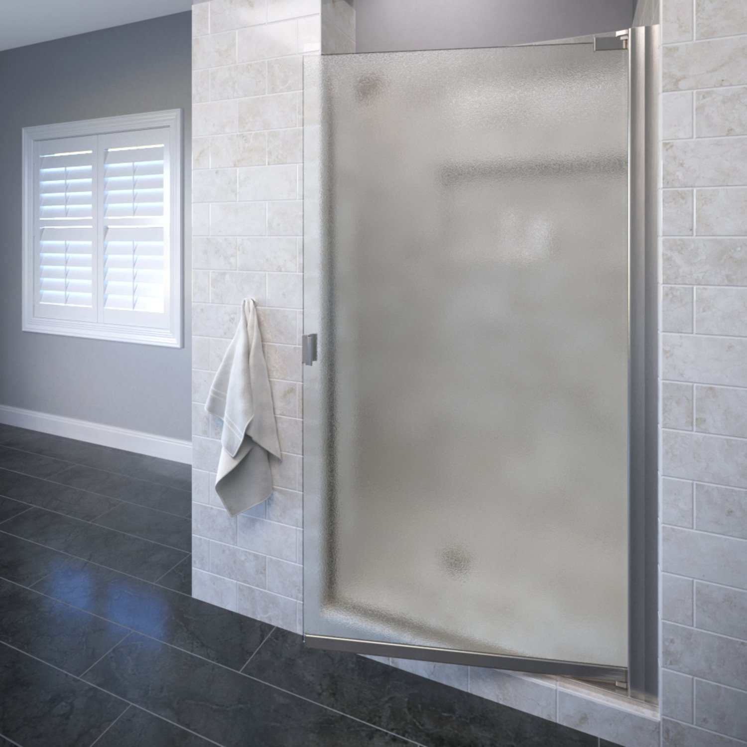 Basco Classic 31.75 to 33.25 in. width, Semi-Frameless Pivot Shower Door, Obscure Glass, Brushed Nickel Finish