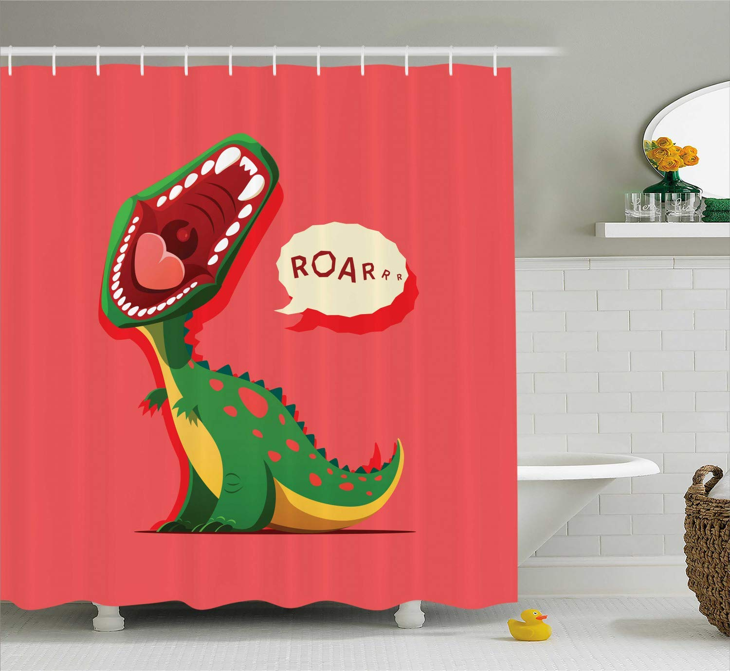 DIY Dinosaur Shower Curtain, Aggressive Prehistoric Cartoon Animal Roaring Open Mouth Wildlife Image, Fabric Polyester Waterproof 12 Stainless Steel Hook, 72 x 84 Inches Coral Green