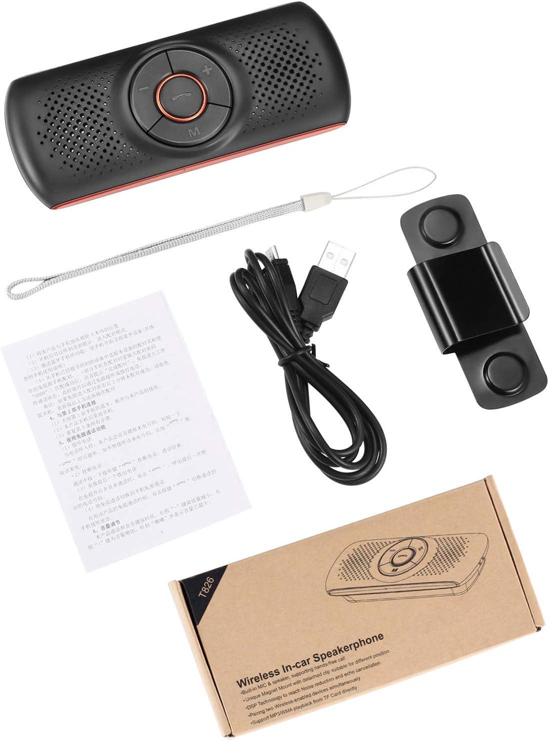 Bluetooth Visor Clip Car Speaker,TIANSHILI Wireless Handsfree Speakerphones Stereo Sound Enhanced Bass//Built-in Mic//TF Card Player//Google Assistant Voice Command Portable Speakers