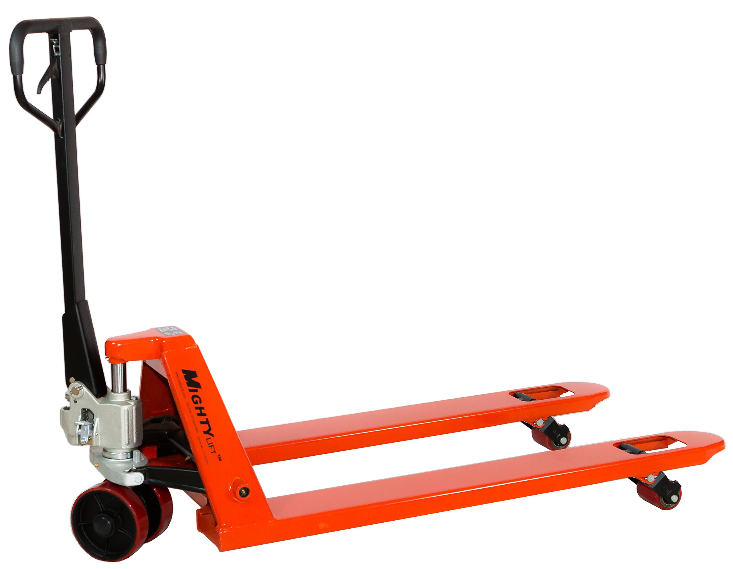 Mighty Lift ML55-2 Heavy Duty Pallet Jack Truck, Wheels: Polyurethane on Steel, 50'' Height, 27'' Width, 60'' Length, 5500 lbs. Load Capacity, Orange