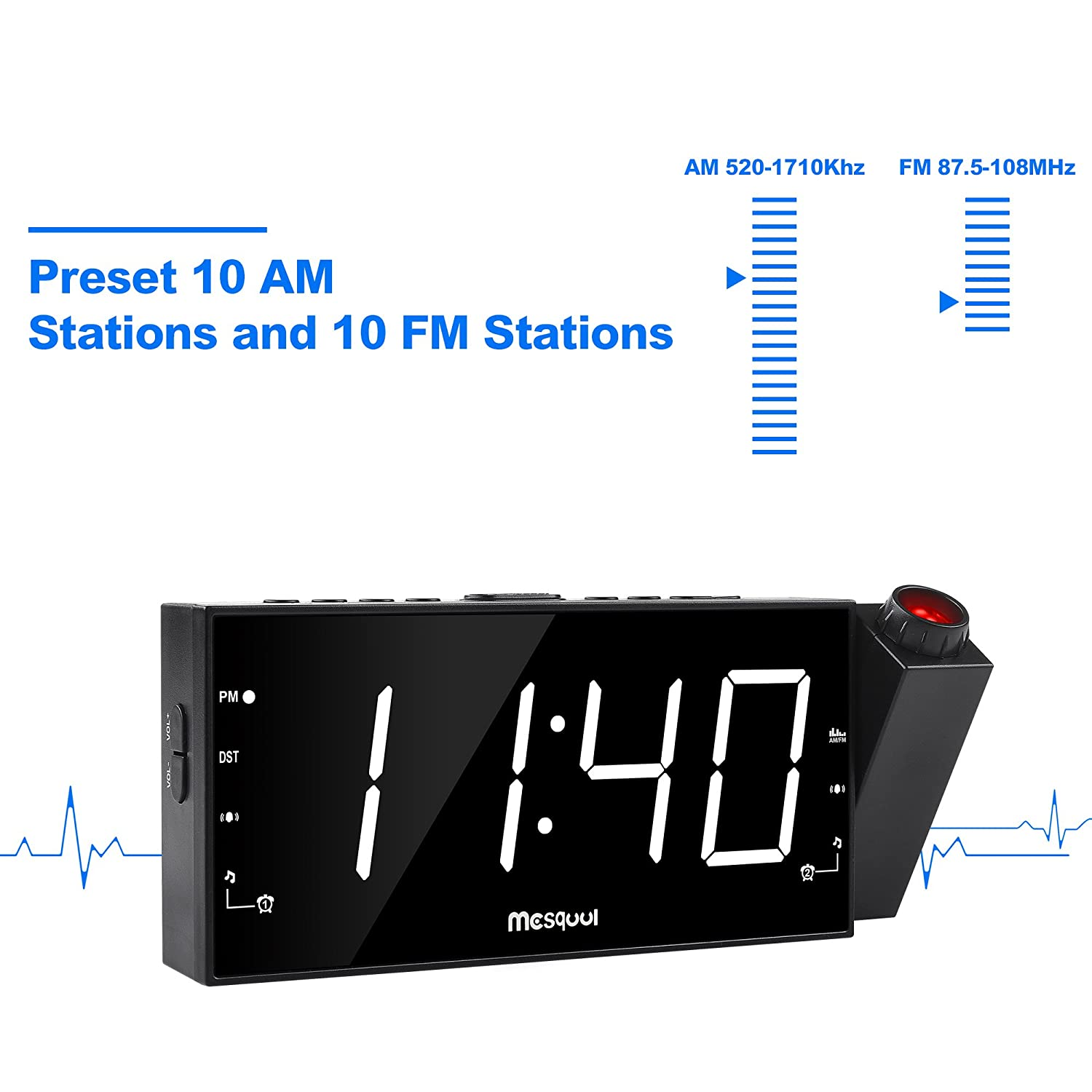 Mesqool Upgraded Version Am Fm Digital Dimmable Low Cost Radio Projection Alarm Clock With 7 Led Displayusb Chargingdual Alarmbattery Backup