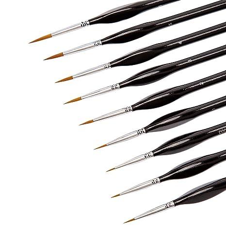 KINBOM Juego de 9 pinceles de pintura en miniatura, pincel de pintura de detalle fino, juego de brochas para acrílico, acuarela, óleo, cara, uñas, ...